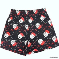 Mens Christmas Boxer Shorts Santa Claus Size Medium Underwear Black Red White  #Unbranded #Boxer