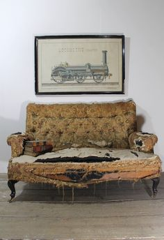 A small 19th c sofa of excellent proportions in original worn material ready for reupholstery.  www.robhallantiques.co.uk Rob Hall, Sofa, English, The Originals, Country, Antiques, Table, House, Furniture