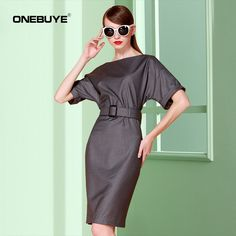 Stylish grey belted dress on Dangdang. Multi-functional dress that is not too casual for work, yet not too formal for outdoor wear.  Buy and Ship internationally from Dangdang via Chinaebuys at www.chinaebuys.com!       #Dangdang #Chinaebuys  ONEBUYE 欧美风纯色修身蝙蝠款圆领短袖系腰带包臀连衣裙女