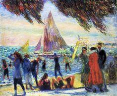 De sous les saules, huile sur toile de William James Glackens (1870-1938, United States)