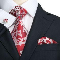 Landisun Fashion 86F Silver Red Paisley Mens Silk Neck Tie Set: Tie+Hanky+Cufflinks