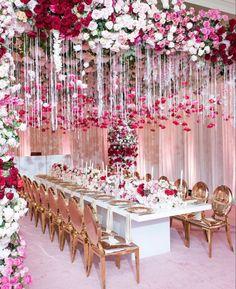 Wedding Ceiling, Head Table Wedding, Wedding Ceremony Decorations, Bridal Shower Decorations, Table Decorations, Hanging Flowers, Table Flowers, Rain Wedding, Dream Wedding