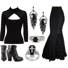 Skirt, tops, boots, rings, earrings  #addamsfamily #morticiaaddams