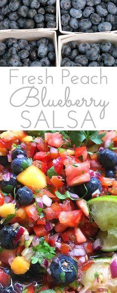 Fresh Peach Blueberry Salsa: fruity salsa with a delicious bite! This fresh…