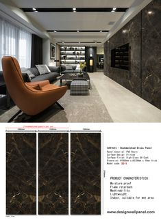 Marble Printed WPC is the abbreviations of Wood Plastic Composite. WPC board is a mixture of reclaimed wood, recycle plastic and a small amount of adhesive. Now it becomes an ideal building material for residential and commercial use. Tv Wall Panel, Wood Panel Walls, Tv Walls, Tv Feature Wall, Feature Wall Design, Faux Wood Wall, Faux Brick Walls, Design Your Dream House, House Design