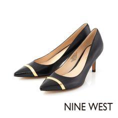 NINE WEST 俐落簡約風格 同色系皮革拼接高跟鞋-百搭黑 - Yahoo!奇摩購物中心