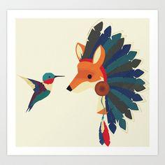 Painted Indian Fox and Hummingbird Art Print by Studio Samantha - $15.00