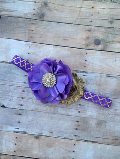 Gorgeous Purple and Gold Headband from The Blooming Lilac Bowtique