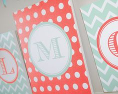 Coral and teal monogram letter backdrop | Monogram Baby Shower Hostess Kit by Undercover Hostess