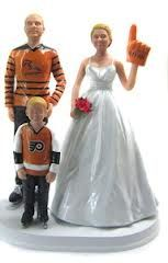 This would be perfect if:  1) they were wearing browns jerseys! 2) the bride didn't look pregnant  3) we need another boy there! #blendedfamilycaketoppers