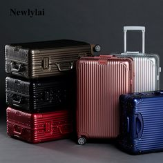 2017 New high quality Full aluminium six colour travel luggage Men and women on board suitcases JJ170094