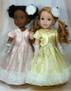 Reserved for Penny, Wellie Wishers Summer Satin Ball Gowns with Lined Jackets and Sheer Gloves, American Made to Fit 14 Inch Girl Doll