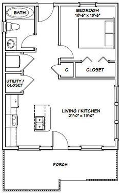 House -- -- 616 sq ft - Excellent Floor Plans - Add private deck on back and loft with stairs. Cabin Plans, Shed Plans, Garage Plans, Shed Floor Plans, Studio Floor Plans, Basement Plans, Car Garage, Basement Ideas, Granny Pods