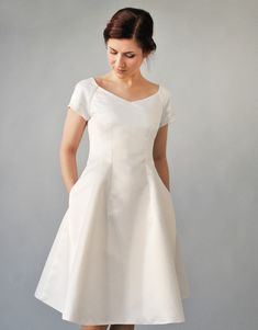 Romantic FEMKIT wedding dress in a flattering silhouette. Elegant and puristic look underlines the female silhouette. Modest White Dress, Wedding Dress With Pockets, Dress Pockets, Woman Silhouette, Yes To The Dress, Wedding Wishes, Elegant, Wedding Gowns, Short Sleeve Dresses