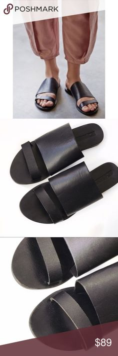 ➡Sol Sana Black Leather Slides⬅ Stylish, simple and chic, this slide sandal has got it all. This must have summer Sol Sana sandal showcases black leather with black leather sole. Enhance your already chic style by pairing with anything in your closet. Worn once.  Leather upper. Slip-on construction. Open toe silhouette.  Leather lining and insole. Low heel. Leather sole. Sol Sana Shoes Sandals