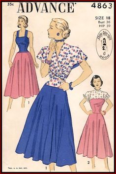 Advance 4863-1948 Vintage Sewing Patterns Advance 1940s Dresses Sun Dresses Drop Waist Contrast Capelets Yoke Cap Sleeves Sleeveless Shoulder Straps Tie Ends