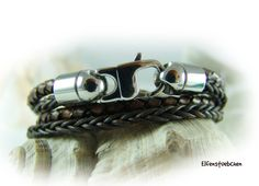 wrap bracelet for men and women leather dark by elfenstuebchen