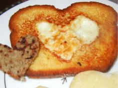 "heart-shaped ""egg in the hole"" for Valentine's!"