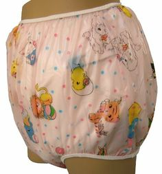 Baby Pants Pink Carousel Print Adult Pullon Plastic Pants - 5X Large by Baby Pants. $21.00. The Baby Pants pullon Pink Carousel Print plastic panties have circus baby animals over a slightly translucent pastel pink plastic. These comfortable baby pants are worn over cloth diapers and are just as effective as the ones that little babies wear. The legs are forward facing providing plenty of room in the bottom area for doubled night diapers. The plastic is a strong 4 gauge and smo...
