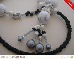 Sale   Pendant Howlite Gemstone Necklace by KBrownJewellery