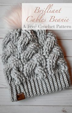 Brilliant Cables Beanie- Free Crochet Pattern The FREE Brill. Brilliant Cables Beanie- Free Crochet Pattern The FREE Brilliant Cables Beanie Bonnet Crochet, Diy Crochet, Crochet Crafts, Crochet Projects, Crochet Dolls, Beanie Pattern Free, Crochet Beanie Pattern, Crochet Hat Tutorial, Chunky Crochet Hat