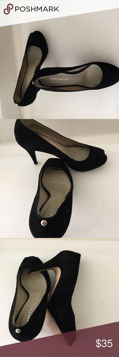"""Karen Millen Pumps Karen Millen Suede Pumps in excellent preowned condition. Color:Black  Size:8  Heel:4"""" Made in Spain. No shoe box Karen Millen Shoes Heels"""