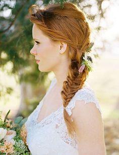 #Trenzas para #novias en espiga y con flores