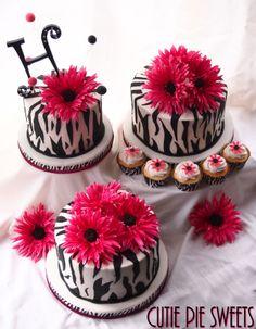 pink zebra wedding cake cupcakes 6 2 8