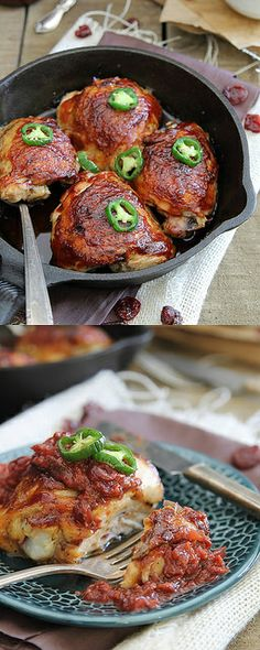 BBQ Roast Chicken with Cherry Jalapeno Sauce by @Gina | Running to the Kitchen