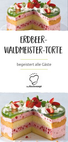 Erdbeer-Waldmeister-Torte Airy biscuit meets a strawberry yoghurt cream. The whole thing is combined with Waldmeister & Mint – this cake delights all guests. Cake & Co, Pie Cake, Strawberry Pie, Strawberry Recipes, Dessert Halloween, Muffins Halloween, Biscuits, Nutella Recipes, Best Cake Recipes
