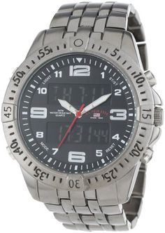 US Polo Assn Classic Mens US8496  GunmetalTone AnalogDigital Watch >>> Read more  at the image link.