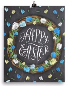 Gorgeous blue and yellow chalkboard Easter art print. Museum-quality posters made on thick, durable, matte paper. Printed on archival, acid-free paper. Printed in America, sweatshop free.