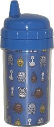 "Toddler Cup  Royal Blue lid  10 oz. capacity  Insert Size: 8.42"" x 4.69"" tapered  Overall Height: 6-5/8"" to top of sipper  Easy twist to open spill-proof top and insert assembly  Shown with Royal Cartoon Jungle - QuickStitch Embroidery Paper (Not Included) $5.10"