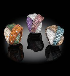 INTRECCI - Palmiero Jewellery Design  set with coloured diamonds and sapphires