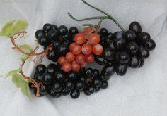 Retro Colors Plastic Grapes, Rubbery Vintage Bowl Fillers, Artificial Fruit Decor, 4 Clusters