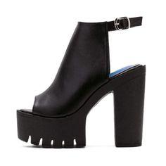 Black High Heel Pumps, Chunky Heel Pumps, Black Heels, Pumps Heels, Slingback Shoes, Black Suede, Black White, Botines Peep Toe, Platform High Heels