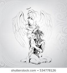 Find Vector Silhouette Angel Demon stock images in HD and millions of other royalty-free stock photos, illustrations and vectors in the Shutterstock collection. Thousands of new, high-quality pictures added every day. Angel Demon, Demon Art, Angel And Devil, Tattoo Drawings, Body Art Tattoos, Tribal Tattoos, Art Drawings, Libra Tattoo, Fairy Tattoo Designs