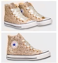 Sparky Gold Glitter Converse All Star High Top or Wedge! All Wedding Colors  available. 4757570b7