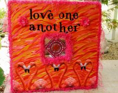 Orange and Pink Shabby Beach Cottage Flamingos Love One Another Wall Photo Frame or Wall Decor - Free Shipping