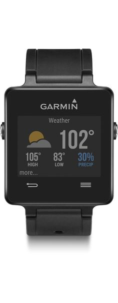 vívoactive is a GPS smartwatch that features apps. Before you head out the door for a workout, check the weather app. Visit Garmin for more details on additional apps you can download!