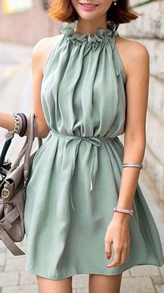 #summer #adorable #outfits |  Green Plain плиссированного диапазон Воротник Streetwear Полиэстер Мини платье