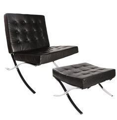 Barcelona Style Chair with Ottoman a classic mid-century modern lounge chair.