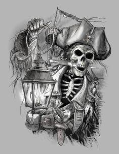Pirate Tattoo Designs And Ideas Pirate Tattoo Sketch, Pirate Tattoo Sleeve, Pirate Skull Tattoos, Pirate Ship Tattoos, Tribal Sleeve Tattoos, Tattoo Sleeve Designs, Wing Tattoos, Sea Tattoo, Hand Tattoo