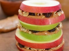 Snack Recipe: Apple Sandwiches with Honeyed Peanut Butter, Oats & Raisins — Recipes from The Kitchn, no raisins on my apple sandwich Raisin Recipes, Apple Recipes, Snack Recipes, Cooking Recipes, Healthy Recipes, Fall Recipes, Delicious Recipes, Detox Recipes, Amazing Recipes