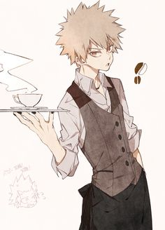 """Kacchan ~ I feel like instead of they usual polite way of asking what the customer wants he'd say something like """"Can I take your fucking order now?"""" Lol"""