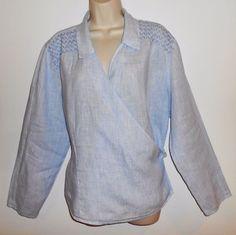 J Jill 100% Linen XL Wrap Blouse Blue White Striped Long Sleeve Shirt Top EUC #JJill #Blouse