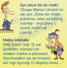 Matka – mistrzyni ciętej riposty Funny Mems, Man Humor, Cool Things To Make, Motto, Best Quotes, Haha, Have Fun, Jokes, Facts