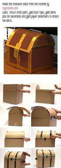 DIY Cardboard pirate treasure chest everyone writes their treasured memories