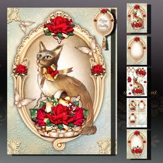 Vintage Frame with Basket of Roses and Kitten on Craftsuprint designed by Atlic Snezana - Vintage Frame with Basket of Roses and Kitten: 5 sheets for print with decoupage for 3D effect plus few sentiment tags (for your own personal text) - Now available for download!