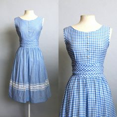 1950s Blue Gingham Summer Picnic Cotton by thegetupvintage on Etsy, $98.00